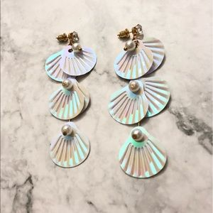 New! Iridescent Sea Shell Mermaid Drop Earrings
